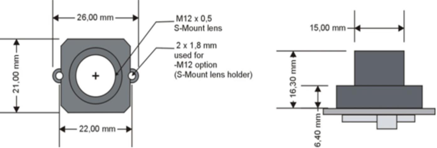 Abmessungen phyCAM mit M12-Halter