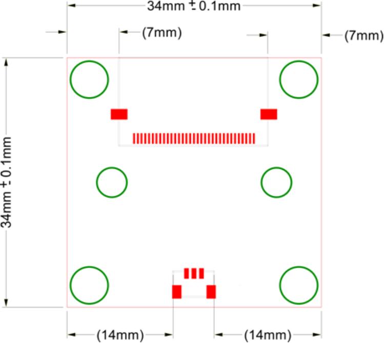 VM-016 (phyCAM-P) Maßzeichung Steckerpositionen (Rückansicht)