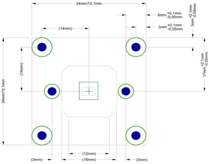 VM-016 (phyCAM-P) Maßzeichnung Bohrung und Sensorsperrfläche (Vorderansicht)