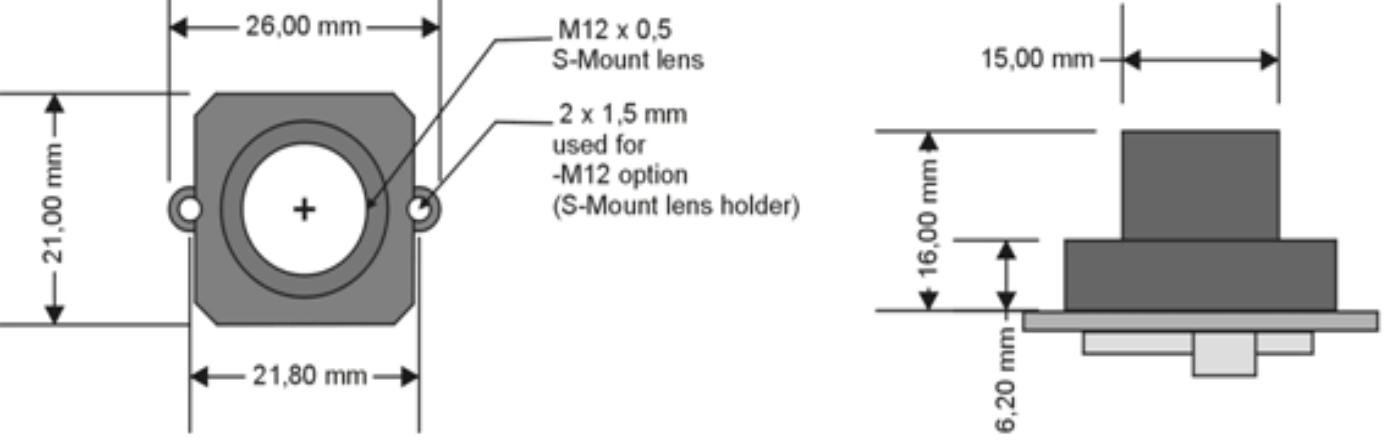 M12 lens holder Dimensions for VM-012 series