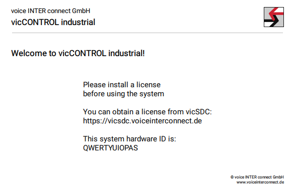 vicCONTROL Industrial Welcome Screen
